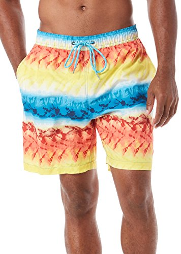 Caribbean Joe Mens Tie Dye Volley Swim Shorts XX-Large Red/blue/yellow