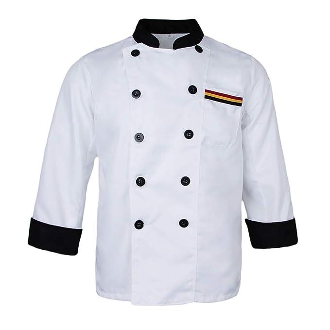 IPOTCH Chaqueta de Spandex Chef Cómodo Cuello Alto Abrigos Chamarra para Restaurante Cafeterías Hoteles - Blanco