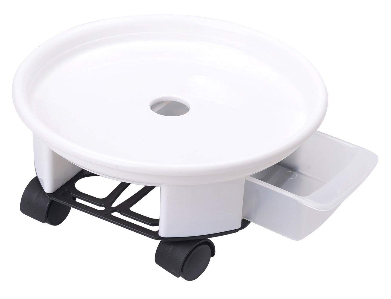 Antetok 27cm Plant Caddy Round Plant Dolly Trolley Saucer Moving Tray Pallet with Wheels and a Water Container Black
