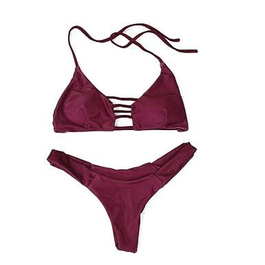 ed632f9261 RAISINGTOP Womens Sexy Push-up Bikini Set Swimsuit Swimwear Halter Top  Brazilian Bathing Suit Elastic Two Pieces New - Red - 0-2: Amazon.co.uk:  Clothing