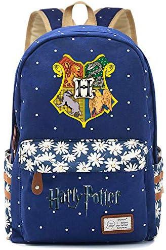NYLY Harry Potter Blumenrucksack Hogwarts Rucksack, Teen Boys Girls Fashion Schultasche Notebook Bag Unisex (Dunkelblau) Stil-7