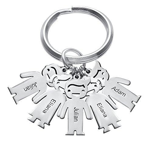 MyNameNecklace 925 Silver Personalized Children Charm Keychain-Custom Engrave 5 Boy/Girl (Tiffany Tiffany Style Key Ring)