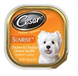 Cesar Sunrise Canine Cuisine Chicken and Cheddar Cheese Souffle for Small Dogs, 3.5-Ounce Trays (Pack of 24), My Pet Supplies