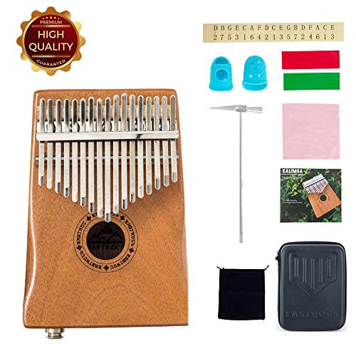 EastRock Kalimba 17 Keys Thumb Piano,Built-in pickup and EVA High Performance Protection Box, Tuning Hammer, Professional models,EQ (Solid Mahogany wood EQ),Gift for Kids Adult Beginners Professional