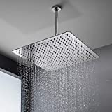 16 Inch Rain ShowerHead, NearMoon Super Large Hotel Stainless Steel Rainfall Showerhead, Ultra Thin Circular Waterfall Bath Shower Body Covering with Silicone Nozzle and Powerful Spray Performance