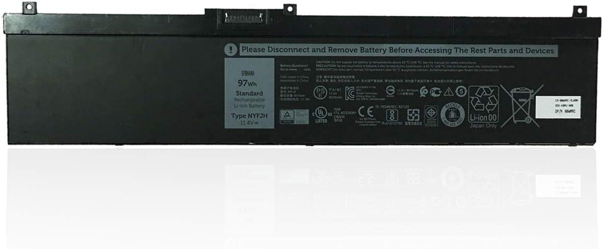 efohana NYFJH Laptop Battery Replacement for Dell Precision 7530 7540 7730 7740 Series Notebook 0WNRC 00WNRC GW0K9 0GW0K9 11.4V 97Wh 8070mAh