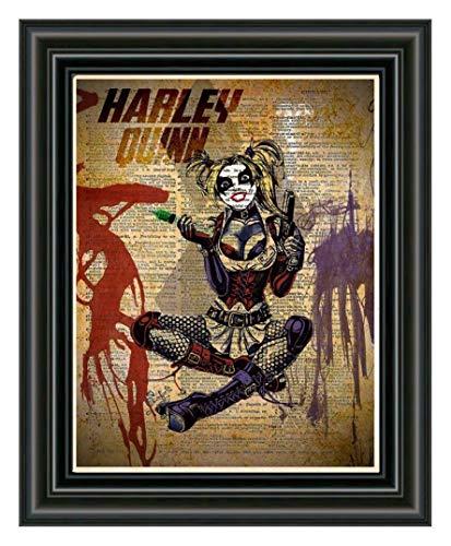 (Harley Quinn art print, superhero decor,cool pop art, vintage dictionary art print )