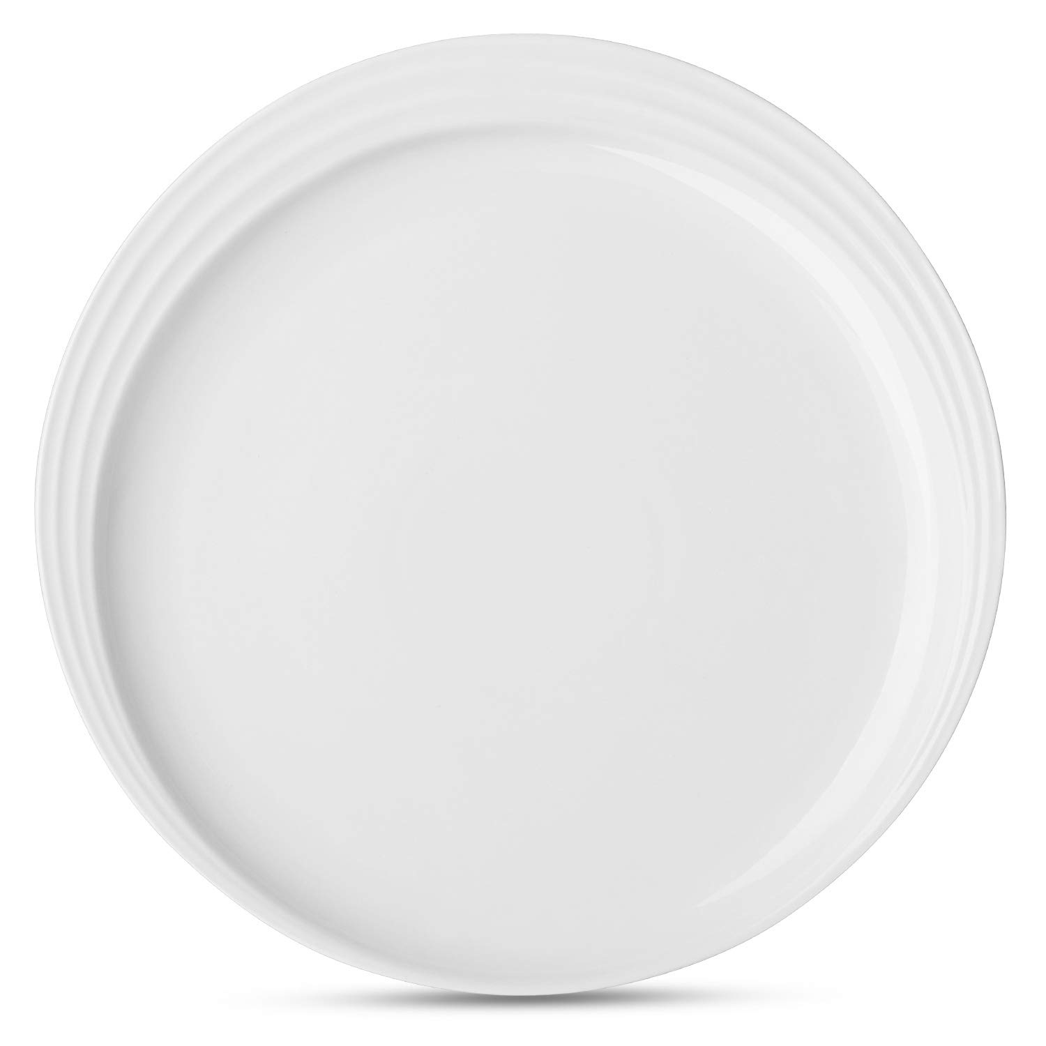 DOWAN 10 Inches Porcelain Dinner Plates Dessert Serving Platters Set of 6 - White