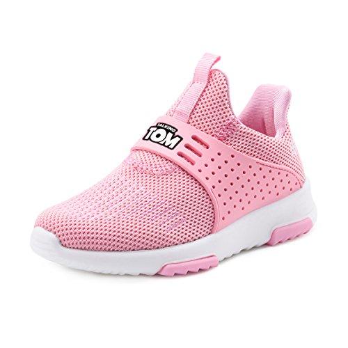 TALKING TOM Toddler Sneakers Boys Girls Flynit Upper Breathable Shoes Lightweight Slip-On Pink 10 -