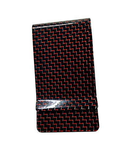 Twill Clip (Money Clip Glossy Carbon Fiber Credit Card MGCFTan Business Card Holder 3K twill Red Carbon)
