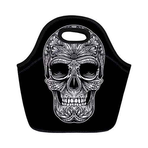 Semtomn Neoprene Lunch Tote Bag Sugar Black and White Tattoo Skull on Hand Pattern Reusable Cooler Bags Insulated Thermal Picnic Handbag for Travel,School,Outdoors,Work