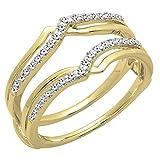 0.25 Carat (ctw) 14K Yellow Gold Diamond Ladies Wedding Band Enhancer Guard Ring 1/4 CT (Size 7)