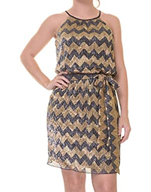 Guess Metallic Chevron-Print Flare Dress Size 0