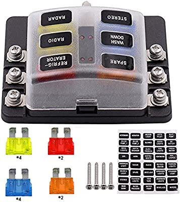 SAUTOP Caja de fusibles para coche, 12 V, 6 vías, con indicadores ...
