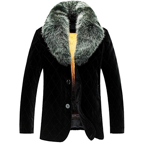 LINAILIN Men's Winter Silk Velvet Shell Coat with Fox Fur Collar Golden Mink Fur Lined Outwear Removable Fur Lined Parka TJ17 (XXL, Black) - Golden Mink Fur Coat