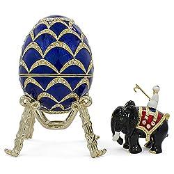Pine Cone Royal Russian Egg- Enameled Jewelry Trinket Box Figurine