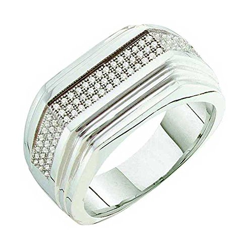 0.30 Carat (ctw) 10k White Gold Round White Diamond Men's Hip Hop Micro Pave Wedding Anniversary Band by DazzlingRock Collection