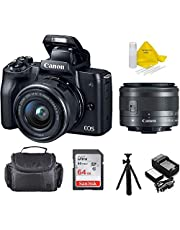 "$698 » Canon EOS M50 15-45mm Mirrorless Digital Camera (Black) with Canon EOS Camera Gadget Bag, 64GB SD Card, Flexible 12"" Spider Tripod, and Battery & Charger Pack Bundle + TopKnoth Kit"