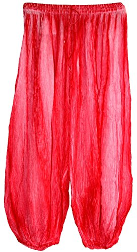 Highwaypay Yoga Gypsy Hippie Boho Bohemia Indian Crinkled Gauze Cotton Bohemian Tie Dye Pants 2717 Pink