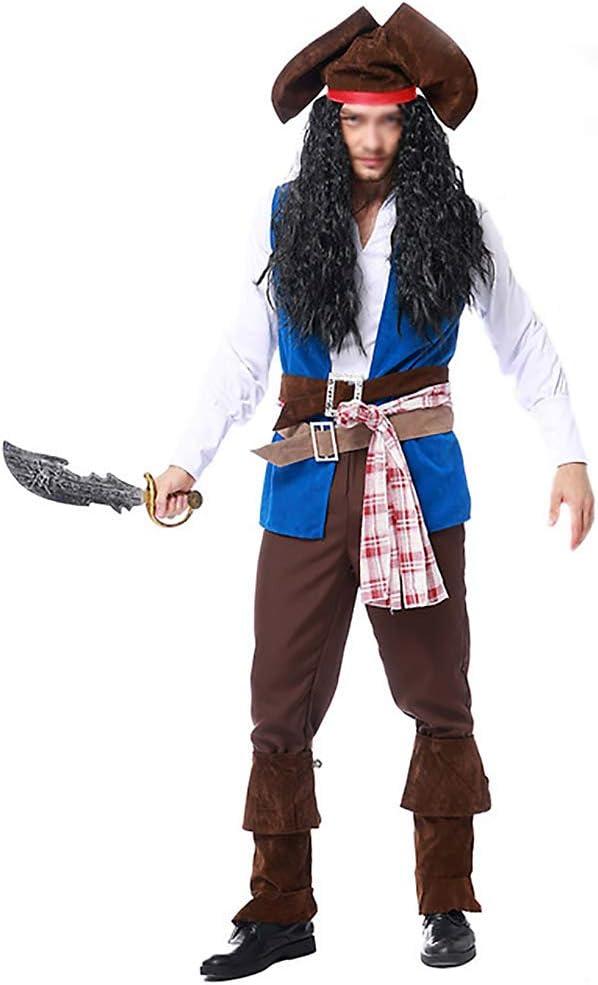 JIANG BREEZE Disfraz de Capitán Pirata Cosplay de Halloween Disfraz de Jack Pirate Disfraz Incluye Sombrero, Peluca, Cinturón, Cinturón, Chaleco, Camisa Blanca, Pantalones, Funda para el pie,XL: Amazon.es: Hogar