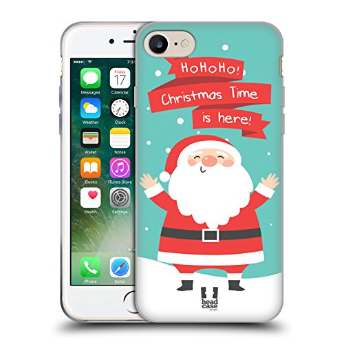 Head Case Designs Babbo Natale Cartoni Di Un Felice Natale Cover Morbida In Gel Per Apple iPhone 7 / iPhone 8