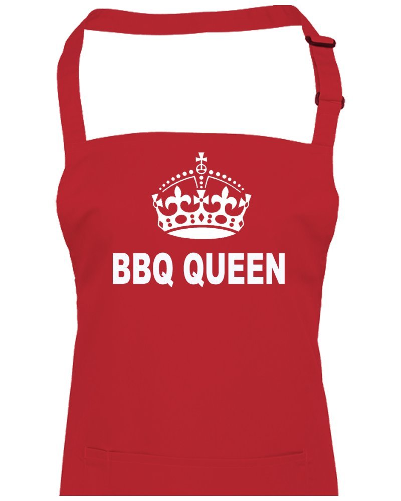 FatCuckoo BBQ QUEEN- BARBECUE TIME, outdoor loving cool crown funny, silly unisex apron