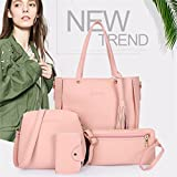 FULLIN Fashion Women Four Set Handbag Shoulder Bags Four Pieces Tote Bag Wallet,Pink