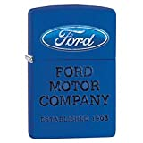 Ford Royal Blue Matte Zippo Outdoor Indoor Windproof Lighter Free Custom Personalized Engraved Message Permanent Lifetime Engraving on Backside