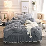 LIFEREVO Luxury Plush Shaggy Duvet Cover Set (1 Faux Fur duvet cover + 2 Pompoms Fringe Pillow Shams) Solid, Zipper Closure (Queen Gray)