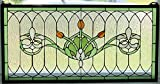 "Tiffany Stained Glass Transom Window Panel Fleur De Lis 32"" x 16"""