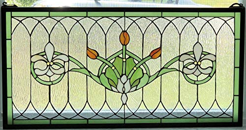- Tiffany Stained Glass Transom Window Panel Fleur De Lis 32