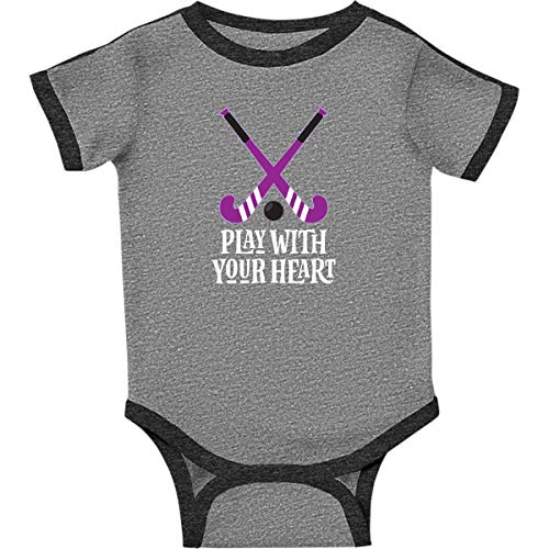 inktastic - Field Hockey Infant Creeper 6 Months Ringer Heather and Smoke 2dfb7