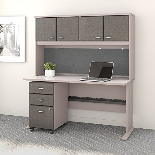 Bush Business Furniture Series A 60W Desk with Hutch and Mobile File Cabinet in Pewter and White Spectrum