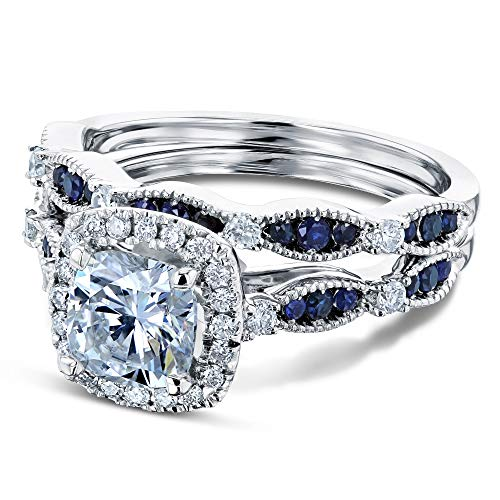 Moissanite and Blue Sapphire Halo Bridal Rings Set - 9.0 / Kobelli F-G