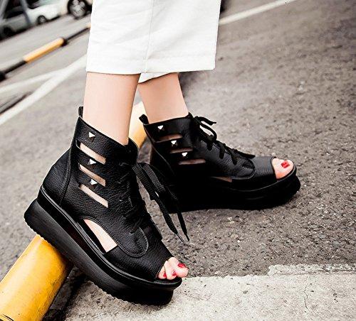 Bout Sandales Chaussures Plateau Ouvert Femme Compensées Mode Aisun Noir n1aWH1
