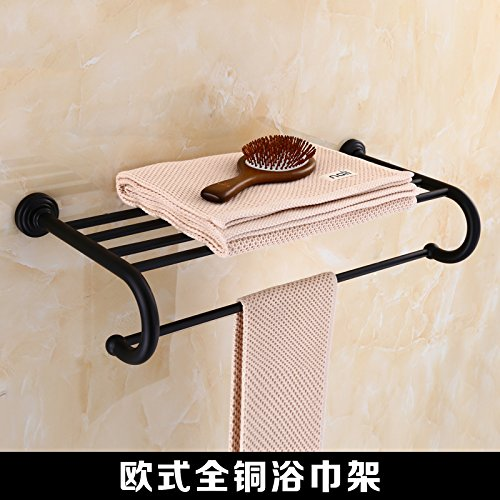 All copper bath towel rack Mangeoo All copper black folding bath towel rack, bathroom antique towel rack,Full copper double cup