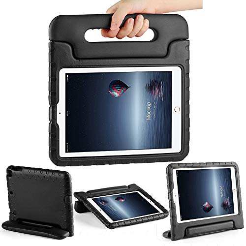 Pad 9.7 inch 6th 5th Generation 2018/2017 Shockproof Kids Proof for iPad Air 1 iPad Air 2 Case Cute with Stand Handle for Kids Girls Boys Black ()