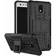 Nokia 2 Case,Mustaner Dual Layer Shock-Absorption Armor Cover Full-body Protective Case with Kickstand Combo PC+TPU Back for Nokia 2 (Black)