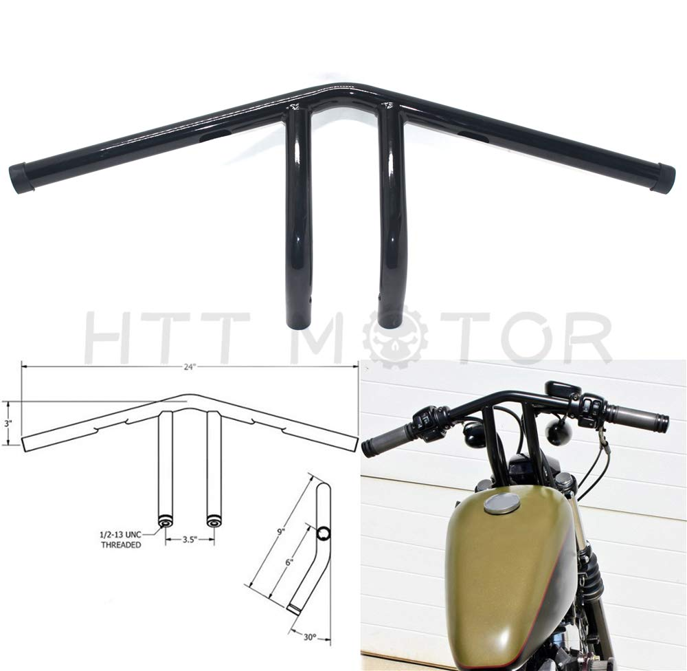 HTTMT HB022-1'' Whiskey Handlebars Black hollow out Compatible with Harley sportster dyna chopper bobber by HTTMT