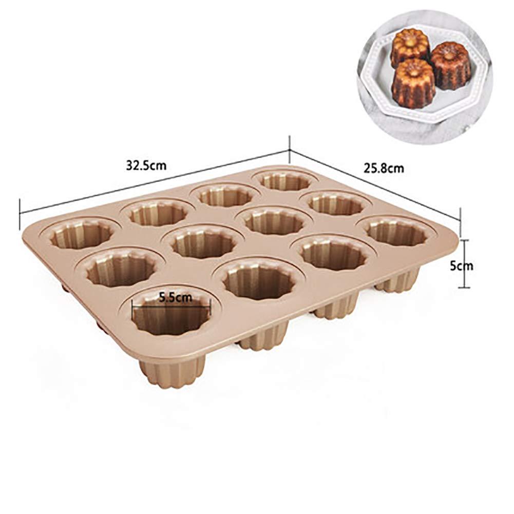 12 hohlraum Cannele Non-Stick Kohlenstoffstahl Canneles pfanne Canele schimmel Backen Kuchen Backformen-A 32.7x25.8x2.7cm MSM Cartoon F/örmchen