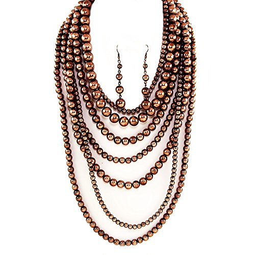 Affordable Wedding Jewelry Statement Beaded Layered Strand Metallic Simulated-Pearl Bead Long Necklace Set Gift Bijoux ()