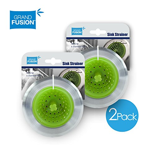 Kitchen Sink Strainer 2 Pack - (Green) Stainless Steel Rim and Silicone Body - Pull tab to invert strainer for easy cleaning