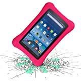 LTROP Shock Proof Case for Fire HD 8 2018/2017 Tablet - Kids Shockproof Convertible Handle Light Weight Protective Stand Case for Fire HD 8-inch (8th Gen & 7th Generation, 2018/2017 Release), Rose