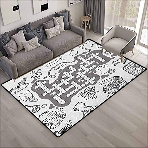 Living Room Rug,Word Search Puzzle Colorless Pirates Themed Educational Puzzle Treasure Map and Icons,Anti-Slip Doormat Footpad Machine Washable,5'6