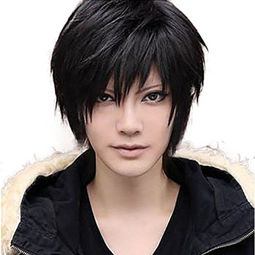 Cheap Cosplay Costumes Anime (Allaosify Hair Short Black Wigs Short Straight Black Cosplay Wigs Halloween party Anime Game Hair)
