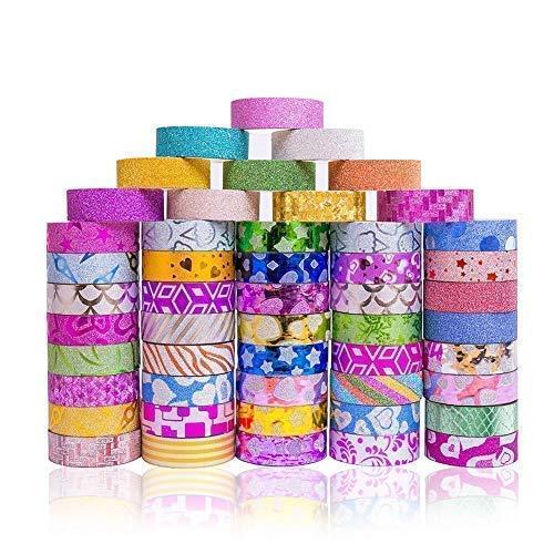 50 Rolls Glitter Washi Masking Tape Set, DIY Accessories, Great for DIY Decor, Scrapbooking Sticker, Masking Paper Decoration, Tape Adhesive, School Supplies, Arts, Crafts, Bullet Journal, -
