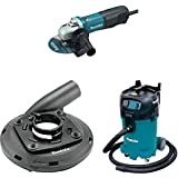 Makita 9566PC 6' SJS Paddle Switch Cut Off/Angle Grinder, 195236 5 4 1/2' 5' Dust Extraction Surface Grinding Shroud, VC4710 12 Gallon Xtract Vac Wet/Dry Dust Extractor/Vacuum