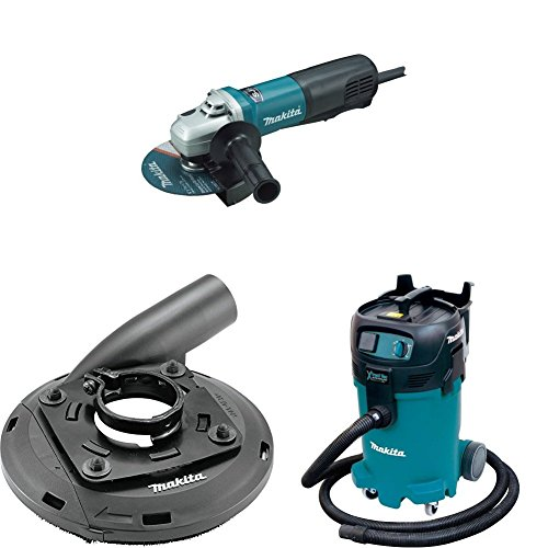 Makita 9566PC 6 inch SJS Paddle Switch Cut-Off/Angle Grinder, 195236-5 4-1/2 inch-5 inch Dust Extraction Surface Grinding Shroud, VC4710 12 Gallon Xtract Vac Wet/Dry Dust Extractor/Vacuum