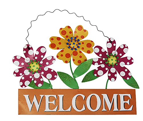 Grace Home Metal Vintage Hanging Flower Welcome Sign Door Decor (15'' x 13'') by Grace Home