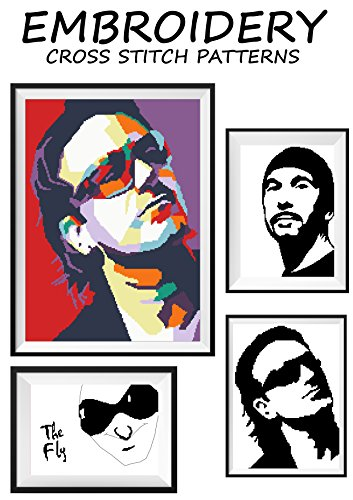 - U2 Features Bono The Edge original artwork poster rock music band group Needlework cross-stitching pattern embroidery art Easy to make gift for him Black & white monochrome handmade counted pattern